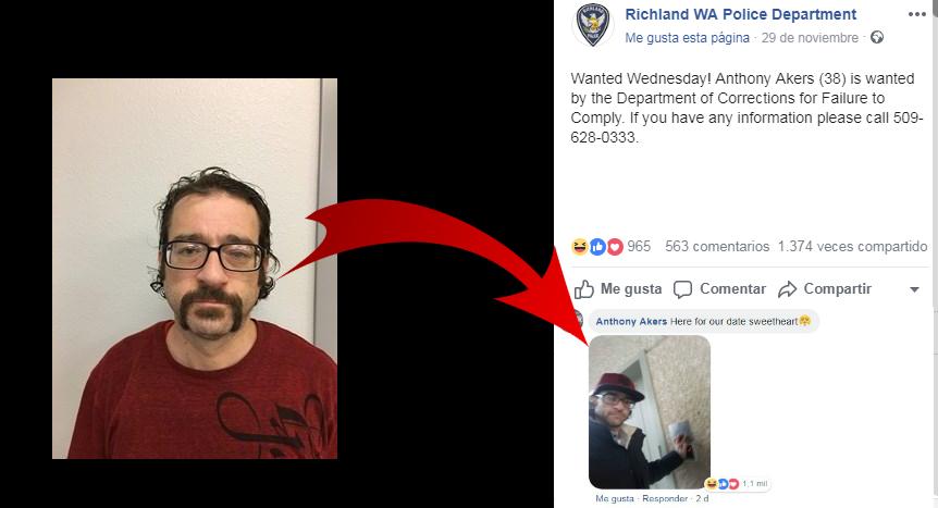 """Fugitivo comenta su propia foto de """"Se busca"""" y la conversación con la policía es muydivertida"""