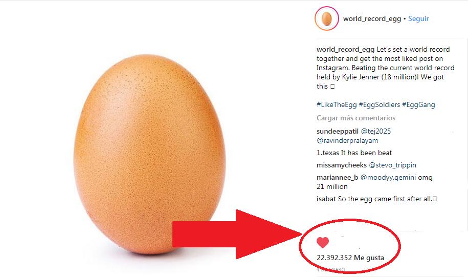"""La foto de un huevo supera a una de Kylie Jenner con el récord de """"likes"""" enInstagram"""